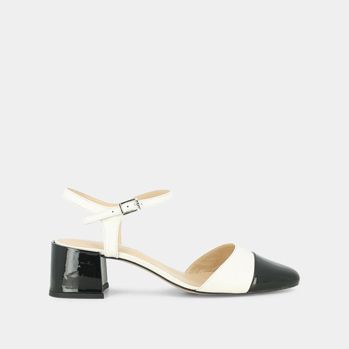 Sandales à talon carré en cuir noir et écru Jonak noirecru