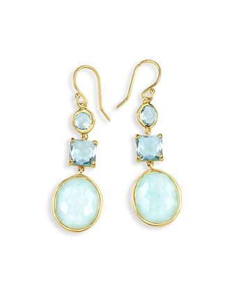 18K Rock Candy Three-Drop Earrings in Waterfall by Ippolita at Neiman Marcus.