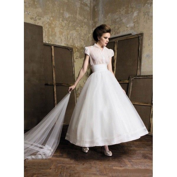 Vintage Wedding Dress With Short Sleeves And Tea Length Organza Bodice Free Made To Measurement Service For Any Size Available Colors Seen As In Color