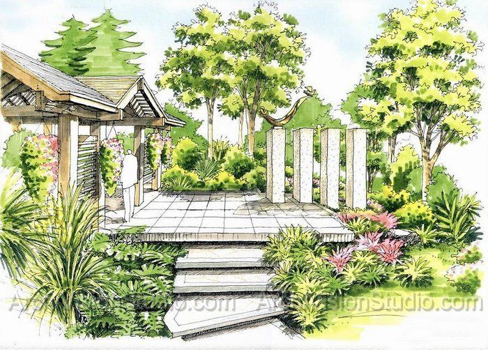 Marker sketch my imgaes pinterest petits jardins for Croquis jardin paysager