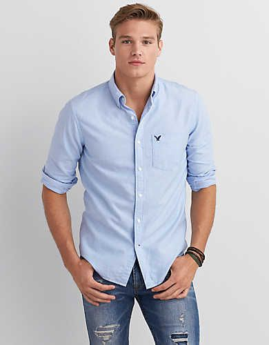 S-Fly Mens Leisure Short Sleeve Regular Fit Oxford Solid Button Down Shirts
