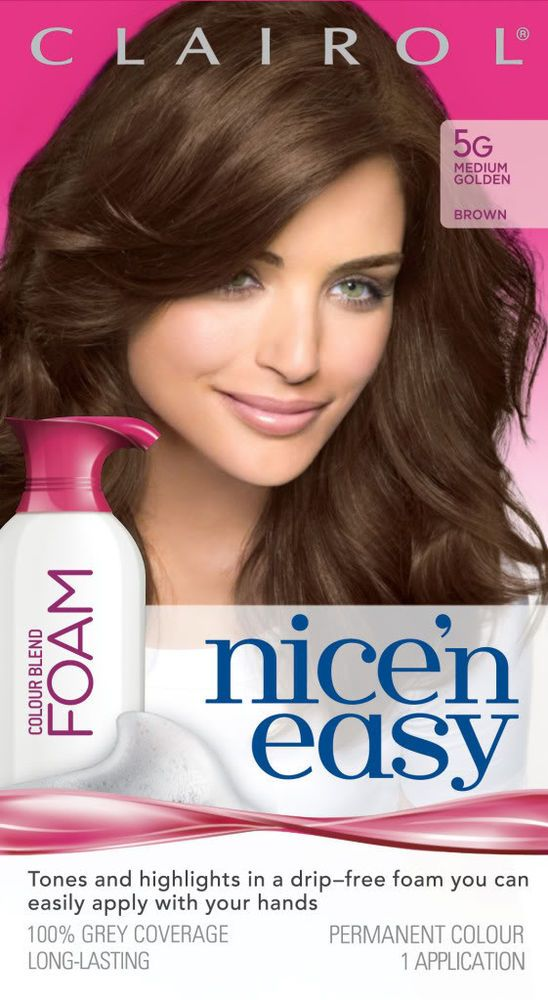 Clairol Nice N Easy 5g Hair Color Blend Med Golden Brown Foam