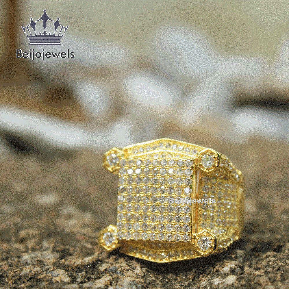 Diamond Pinky Ring Designer Mens 10k Yellow Gold Square Statement
