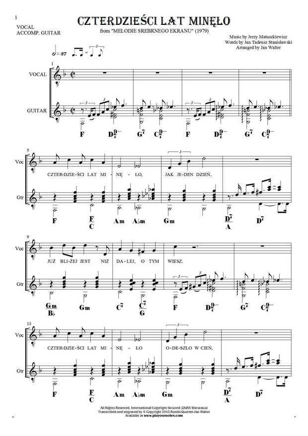 Czterdzieci Lat Mino Notes Lyrics And Chords For Guitar And