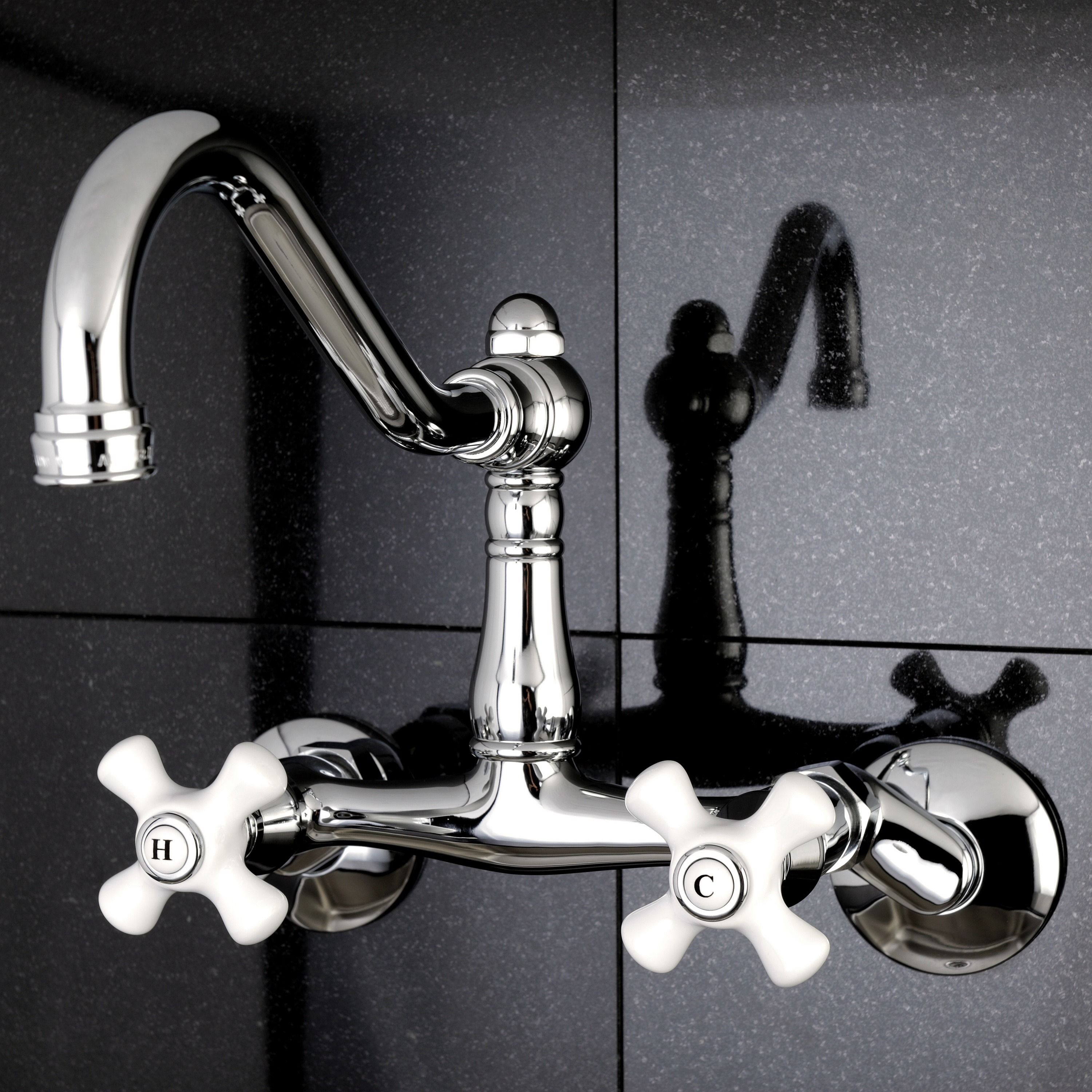 Update your kitchen decor with this brass wallmount kitchen faucet ...