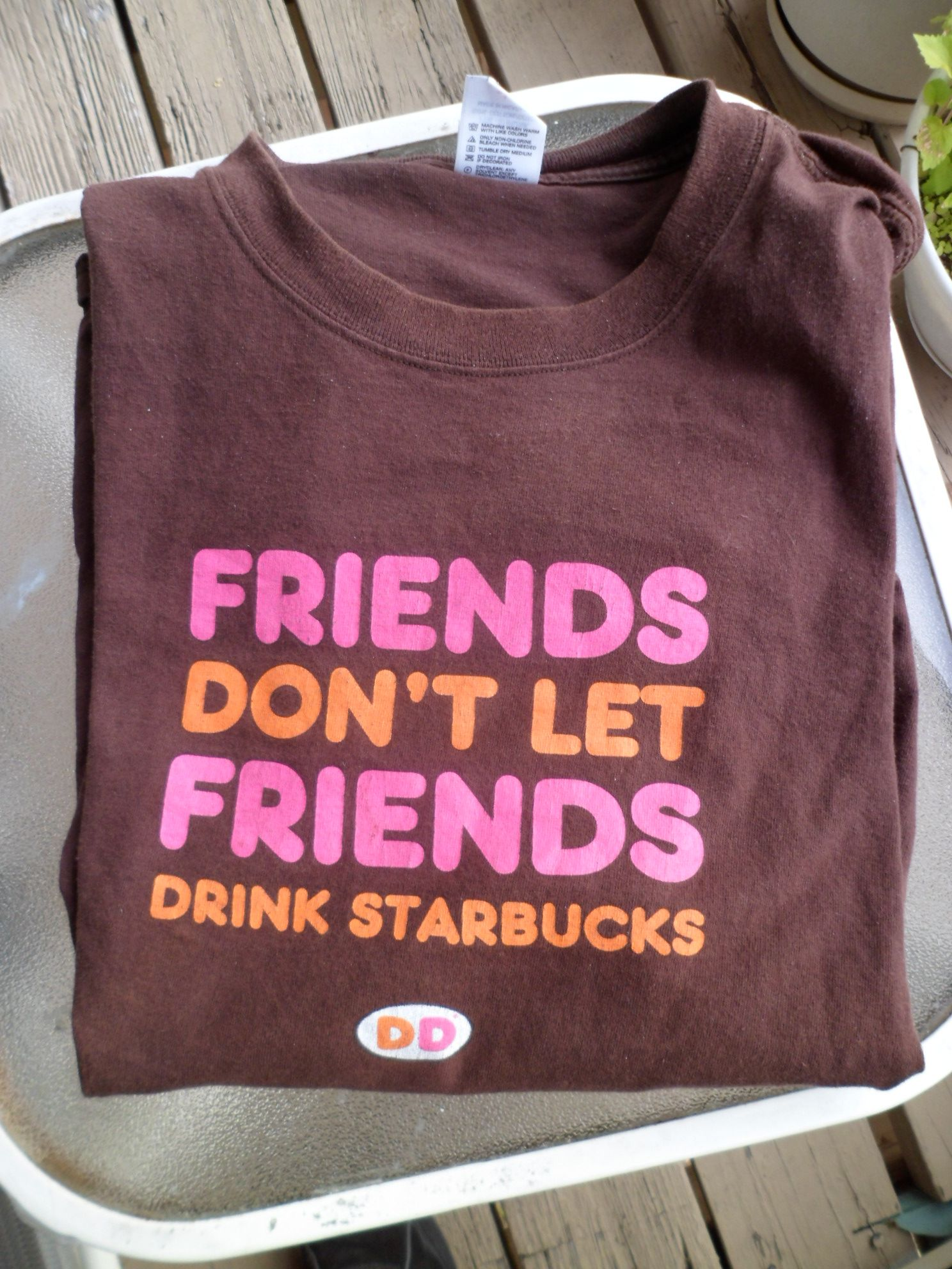 Dunkin donuts tshirt friends dont let friends drink