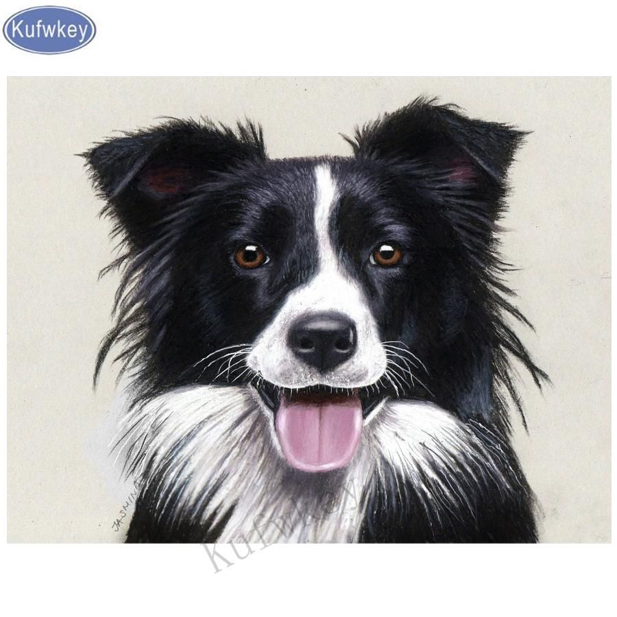 Border Collie Drawing Diamond Embroidery 5d Diy Diamond Painting Rhinestone 3d Picture Cross Stitch Pattern Home Decoration Border Collie Art Border Collie Dog Border Collie Colors