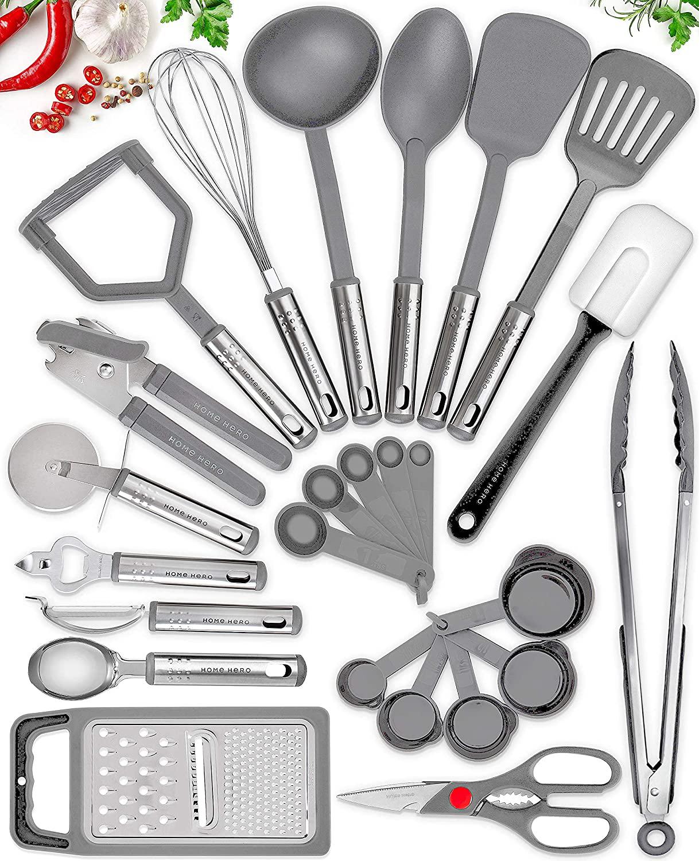 25 Kitchen Utensil Set Home Hero - Nylon Cooking Utensils - Kitchen Utensils with Spatula - Kitchen Gadgets Cookware Set - Kitchen Tool Set - Gray