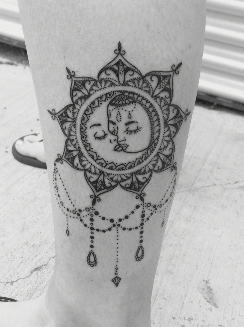 eae87feb7 Vintage Boho Sun and Moon Mandala Tattoo. LOVE it!! | tatttttos ...