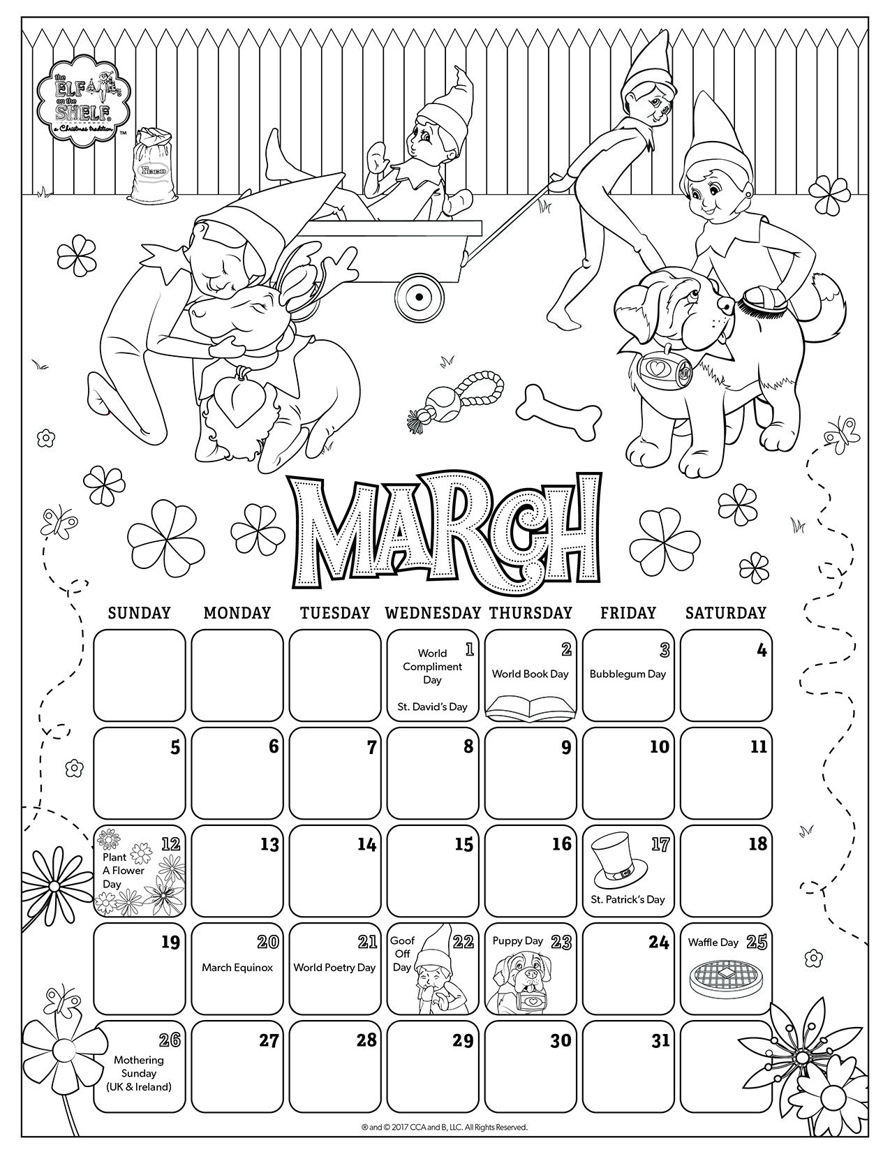 March 2017 Printable Calendar Coloring Pages For Kids