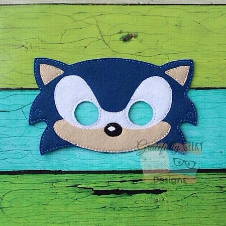 Hedgehog Boy Felt Mask Embroidery Design 5x7 Hoop Or Larger Festas De Aniversario Do Sonic Mascara Feltro Aniversario Do Sonic