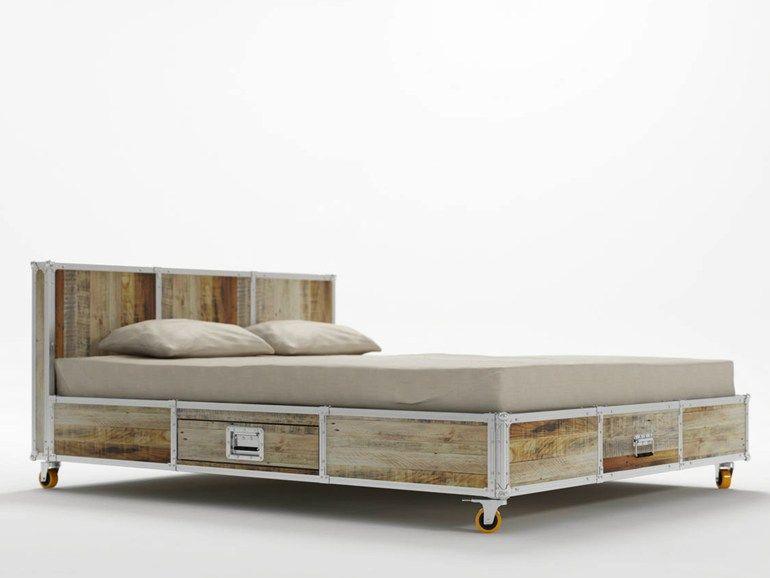 Letto queen size in legno con ruote roadie letto queen size