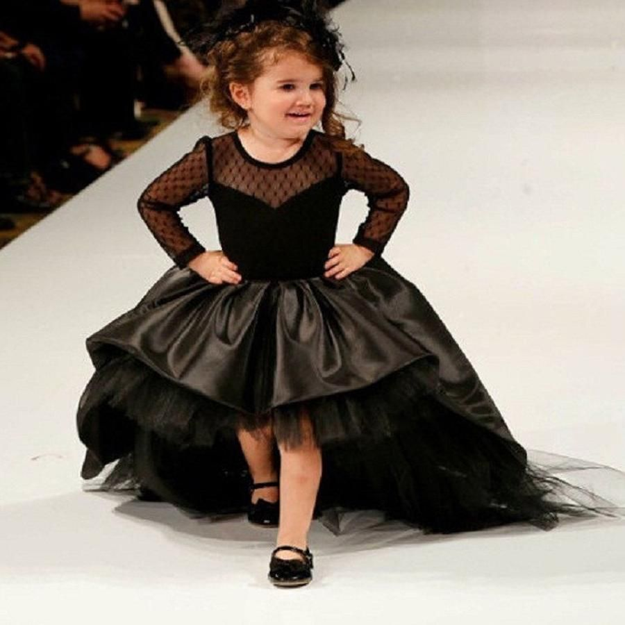 Black dress for wedding party  Black Flower Girl Dresses with Long Sleeves High Low Party Pageant