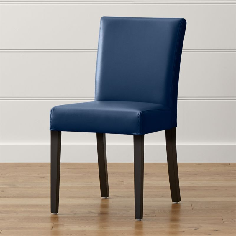 Shop Lowe Navy Leather Dining Chair Smartly Upholstered In Sleek Ocean Blue Leather With Double Saddle In 2020 Dining Chairs Dining Room Design Leather Dining Chairs