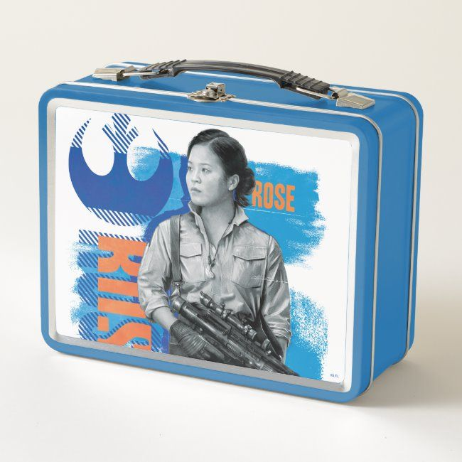 Industrial Grunge Rose Graphic Metal Lunch Box