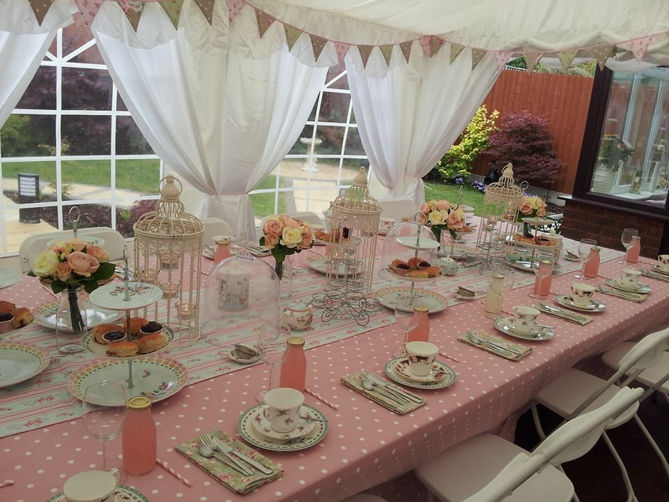 Vintage Afternoon Tea Party. Bunting and tablecloths from Brandwood Cottage.