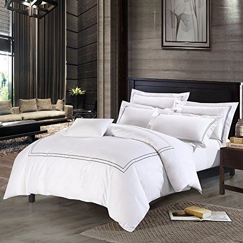 Deep Sleep Home 3pc Duvet Cover Set 40s Cotton Sateen Grey Embroidered Lines 250 Thread Count Percale White Backgr Duvet Cover Sets Home Hotel Duvet Covers