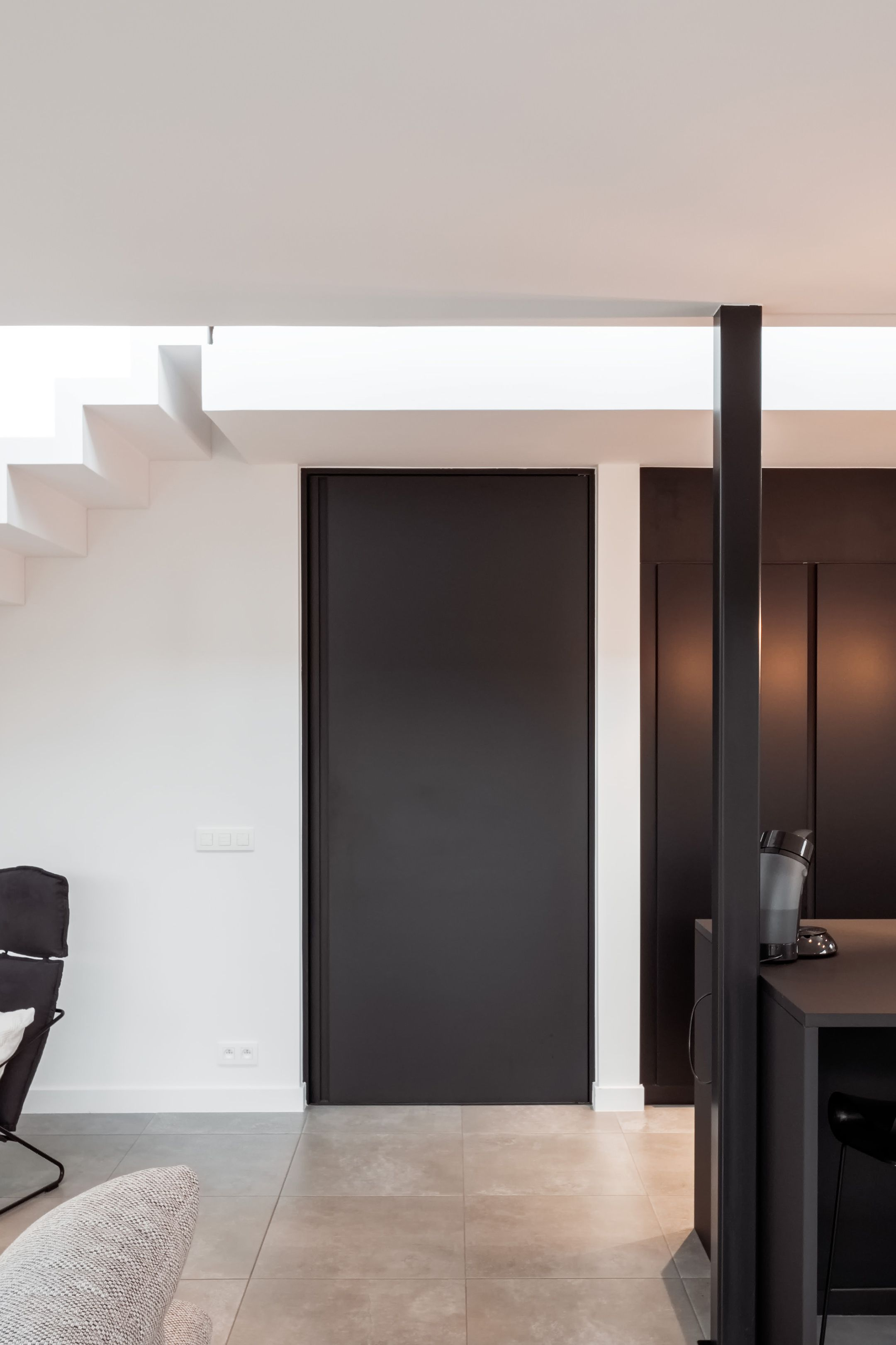 Black Interior Door With Traceless Top Coating For A Maintenance