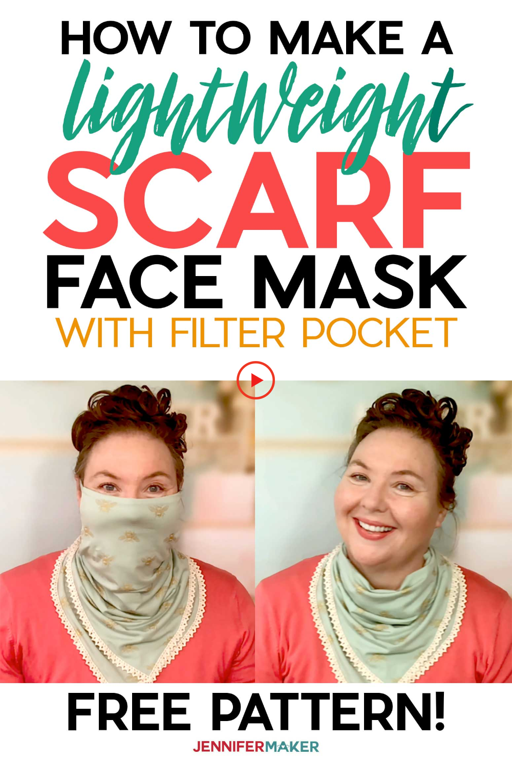 Scarf Face Mask Pattern Pretty & Stylish! Jennifer