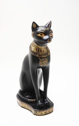"Black And Gold Egyptian Goddess Bastet Cat Sitting Figurine 9/""H Decor Statue"