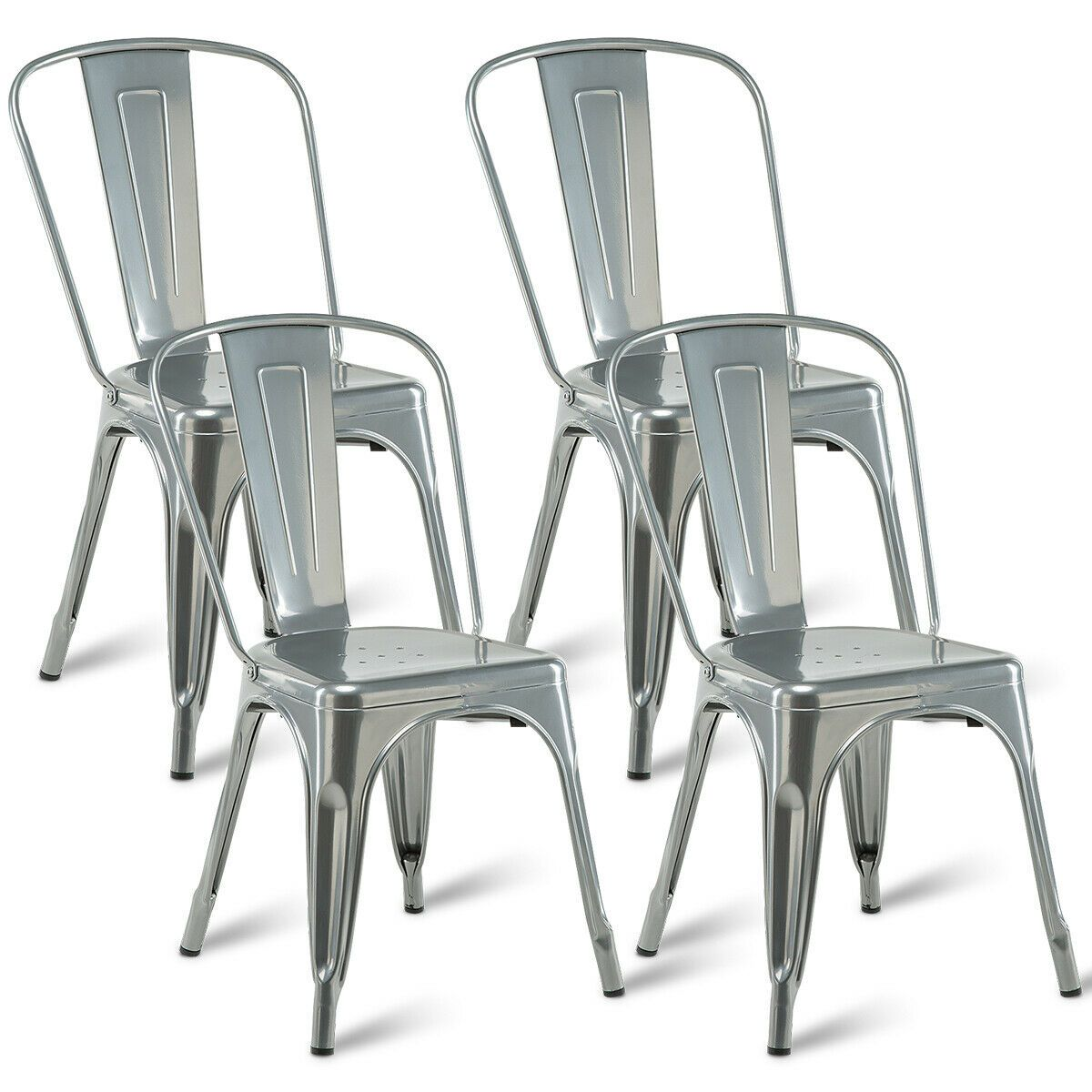 Costway Set of 4 Dining Side Chair Stackable Bistro Cafe