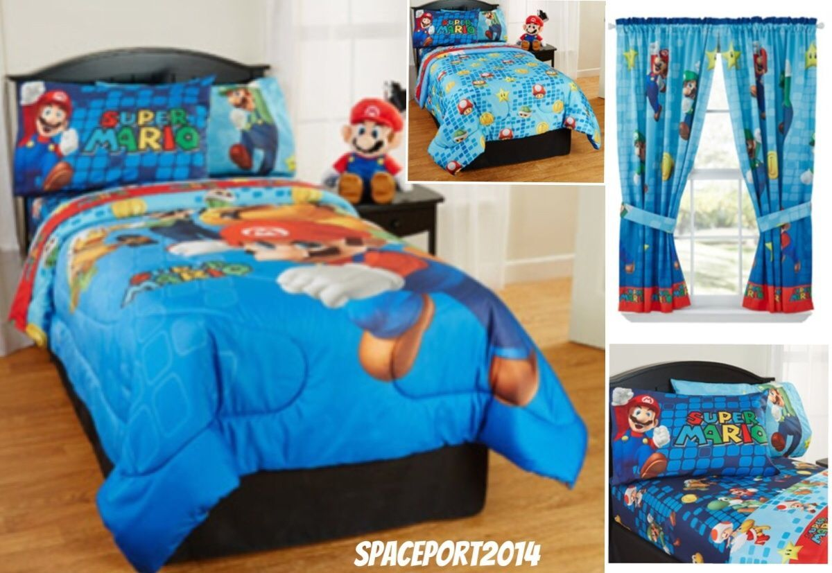 Super Mario Brothers Bros Twin Comforter Sheets Curtains Set Bed In