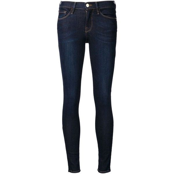 Frame Denim 'Le skinny de Jeanne' jeans (€255) ❤ liked on Polyvore featuring jeans, pants, blue, bottoms, skinny fit jeans, super skinny jeans, skinny leg jeans, frame denim and blue jeans