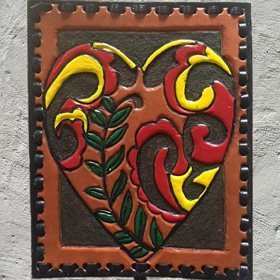 Heart Wall Art Leather Hanging Decor Red Love Gift Home