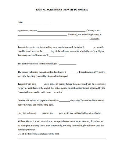 Printable Yearly Lease Agreement Month To Month Rental Agreement Template Download Edit Rental Agreement Templates Lease Agreement Room Rental Agreement