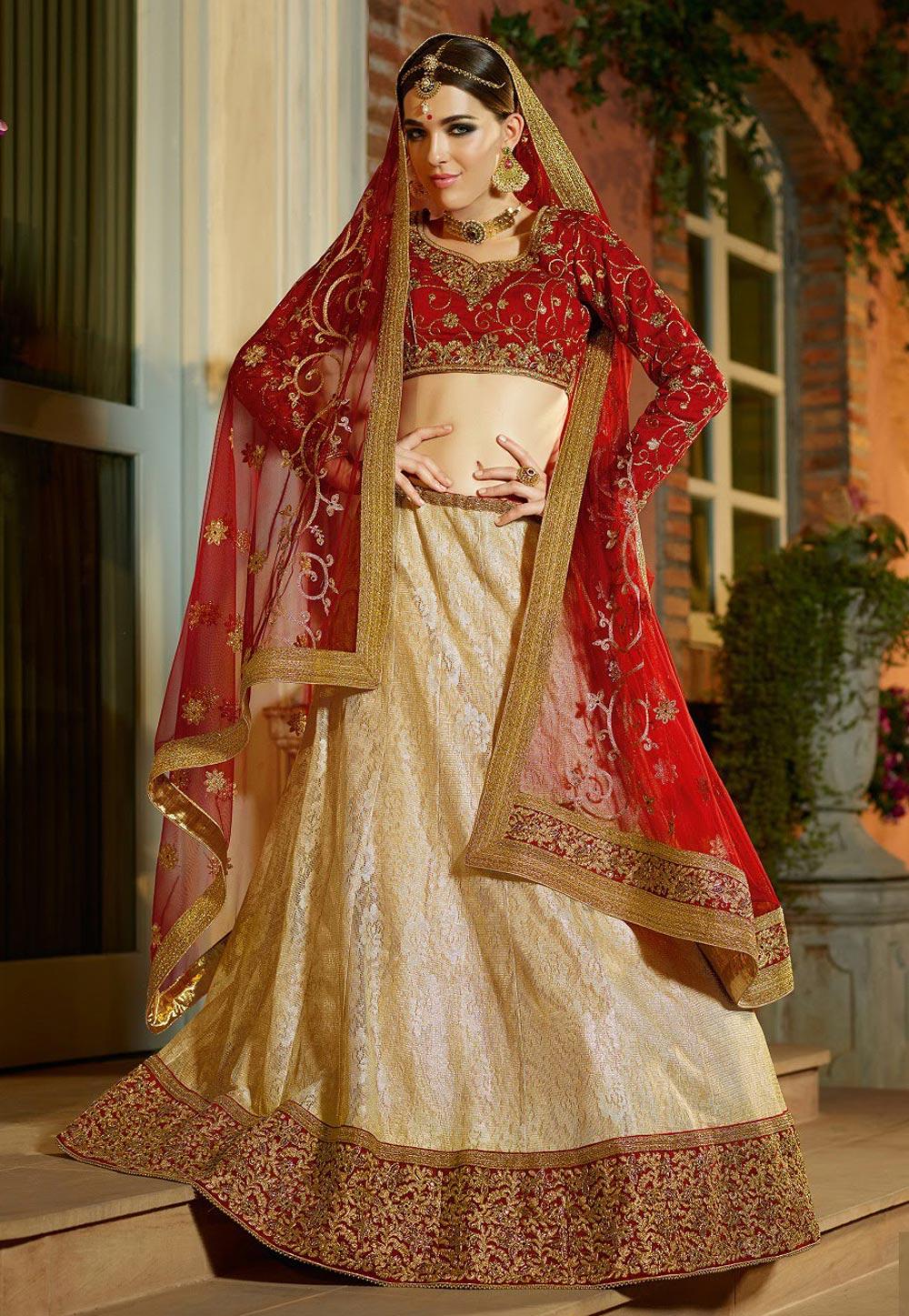 Buy Beige Banglori Silk Embroidered Circular Lehenga Choli ...