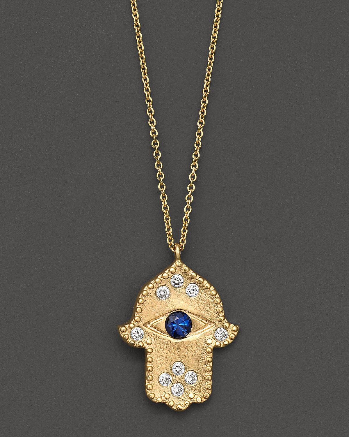 Meira T Diamond Hamsa and 14K Yellow Gold Necklace ~ Beautiful ...
