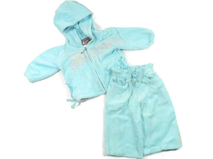 Juicy Couture Baby Girl Blue Tracksuit 3 6 Months Terry Cloth Outfit Hoodie Pant Juicy Couture Baby Clothes Juicy Couture