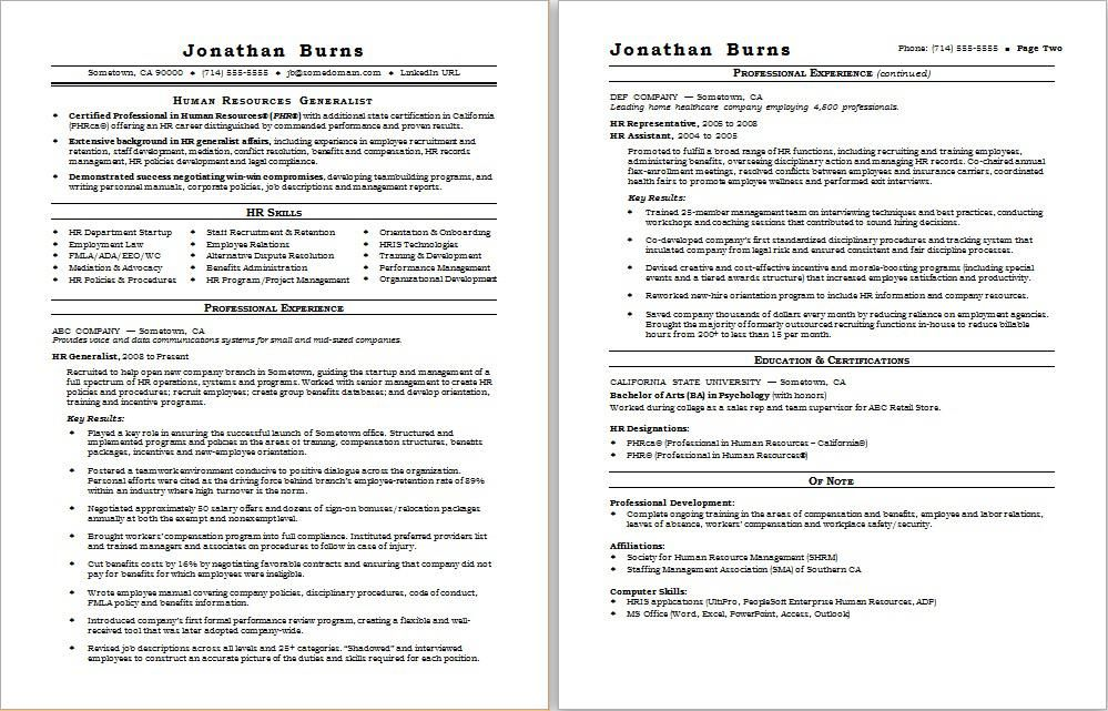 Check out this sample resume for a human resources professional A