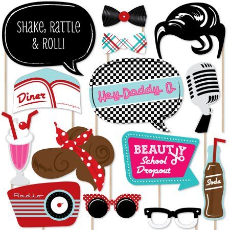 50's Sock Hop - 1950s Rock N Roll Party Photo Booth Props Kit - 20 Count - Walmart.com