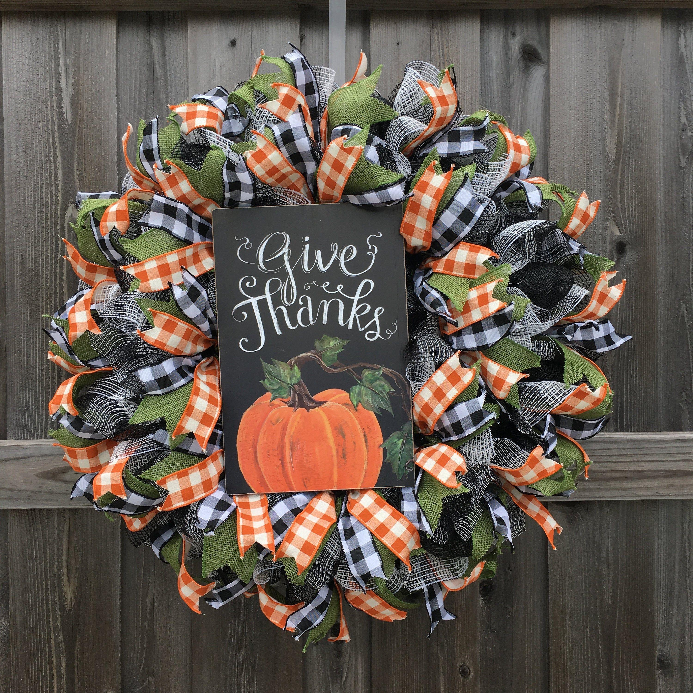 Photo of Fall Wreath, Thanksgiving Wreath, Autumn Wreath, Harvest Wreath, Buffalo Check Wreath, Farmhouse Wreath, Country Wreath, Front Door Wreath