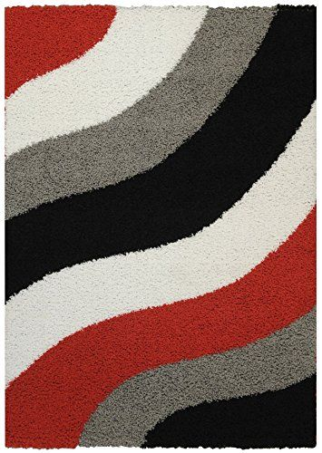 Maxy Home Shag Block Striped Waves Red Black White Grey 5 X 7 Contemporary Area Rug Maxy Home Http Www Amazon Com Dp B00kx9r8e Shag Area Rug Rugs Area Rugs