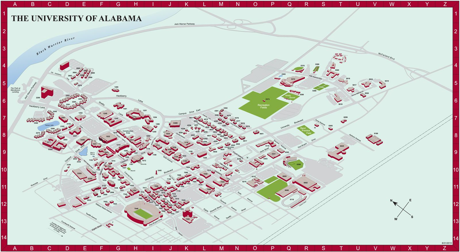 University of Alabama Campus Map Tuscaloosa Alabama ...