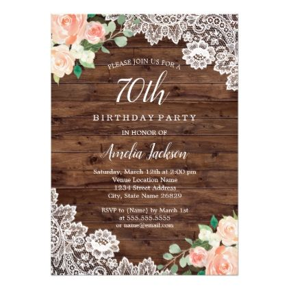 Floral Rustic Wood Lace 70th Birthday Invitation