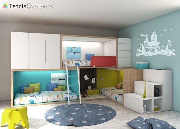 Litera tren cruzada con 3 camas modelo rubbik camas tipo tren pinterest for Habitaciones juveniles 3 camas