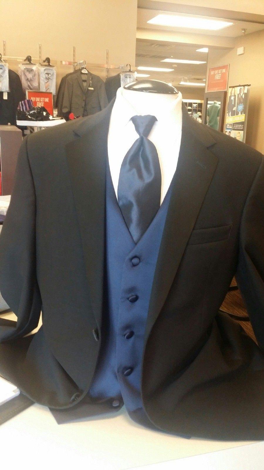70169e74fd41 Groomsmen- black tuxedo, navy vest, navy tie. Men's Warehouse ...