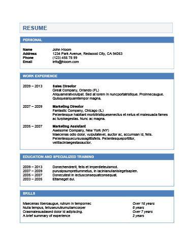 Chronological Resume by Hloom Βιογραφικο Pinterest - reverse chronological resume