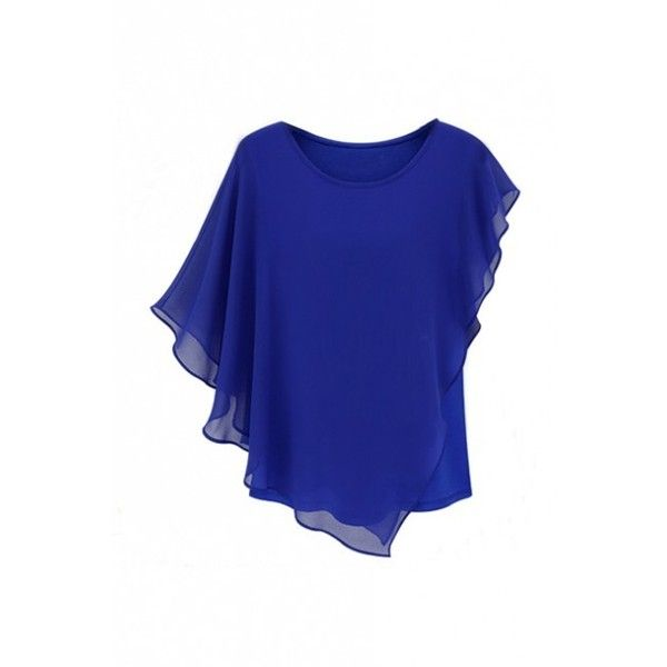 LUCLUC Blue Frilled Scoop Chiffon T-Shirt (82 SAR) ❤ liked on Polyvore featuring tops, t-shirts, chiffon tee, flounce tops, ruffle top, blue ruffle top and scoop tee