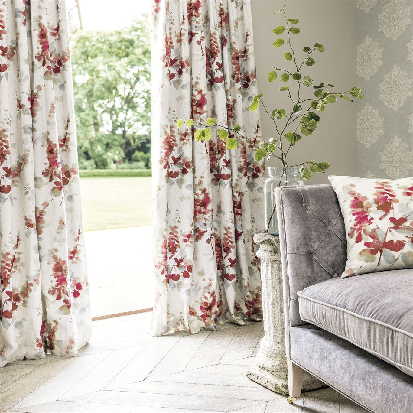 Sanderson red modern flowers fabric for drapes