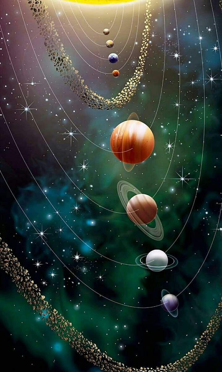 Le Systeme Solaire Mercure Venus Terre Mars Jupiter Saturne Uranus Neptune Pluton Art Spatial Peinture Univers Idees De Papier Peint