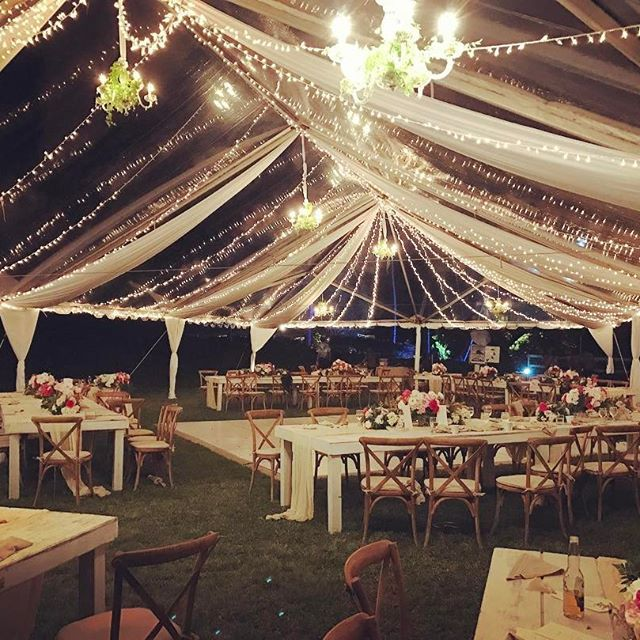 Clear Tent White Drapes Tivoli String Lights Chandelier with Greenery Arrangement & Clear Tent White Drapes Tivoli String Lights Chandelier with ...