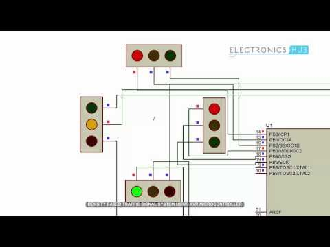 This Density Based Traffic Light Control System Circuit Is Designed Using Atmega8 Microcontroller An Electronics Mini Projects Electronics Projects Electronics