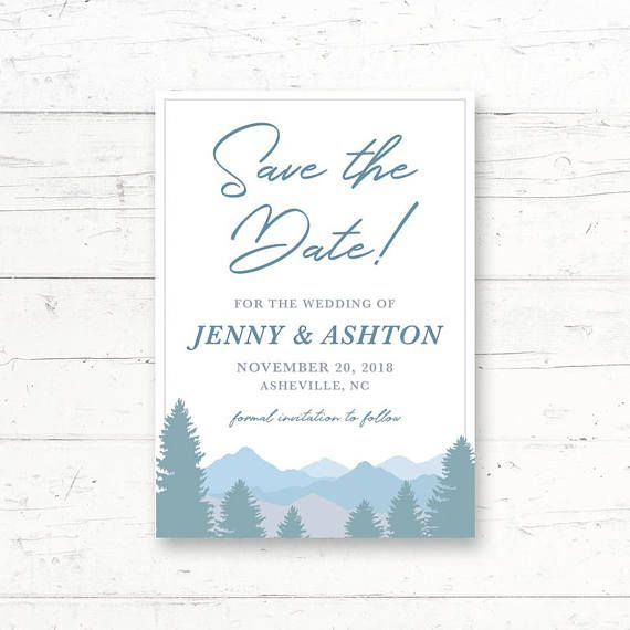 Winter Forest Mountains Printable Save the Date Card Wedding