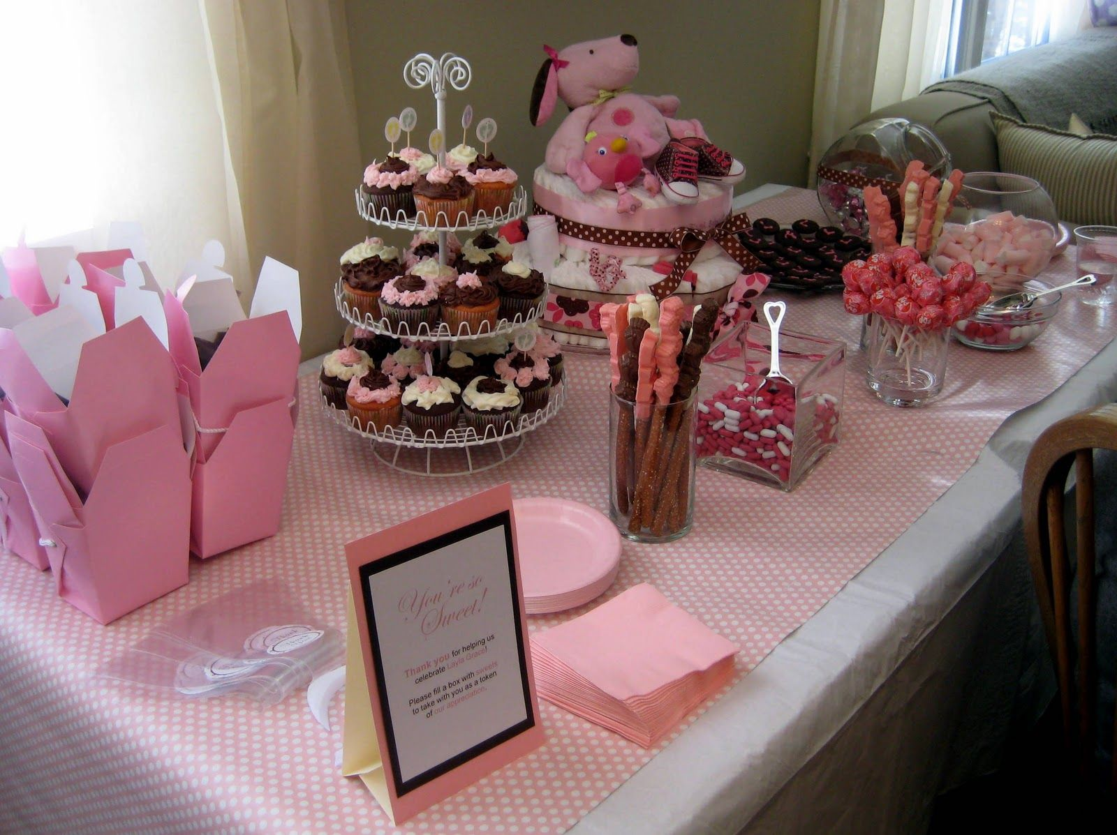 Dessert Bar Ideas My Favorite Part The Pink And Chocolate Themed Dessert Bar Yum Baby Shower Desserts Baby Shower Desserts Girl Baby Shower Dessert Table