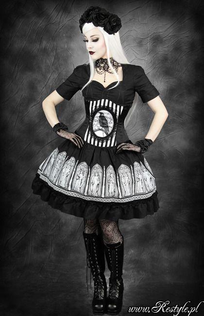 Restyle Elegant Gothic Lolita Gates Angels Midi Skirt Black Goth