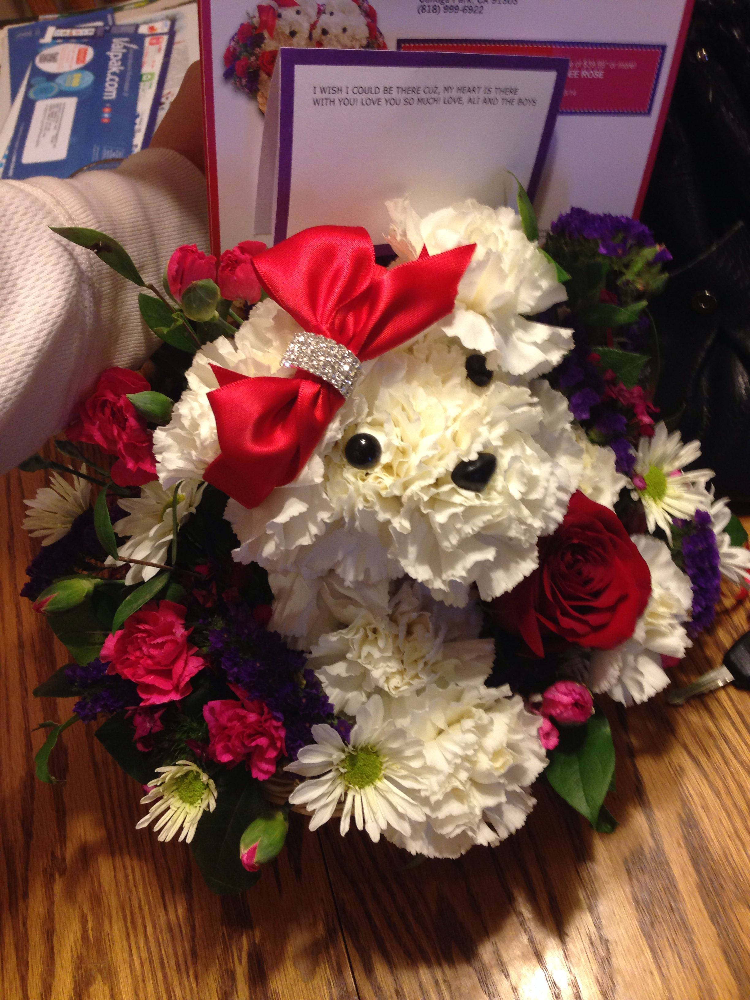 Flower Arrangement make a bedlington terrier? Unique